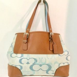 Coach Monogrammed Canvas & Leather Bag